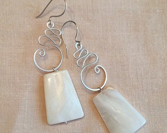 Natural seashell dangling earrings handmade with silver wire