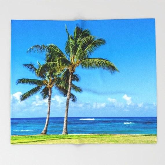Hawaiian Beach Blanket: Hawaiian Palms Fleece Blanket Palm Trees Surf Ocean Hawaii