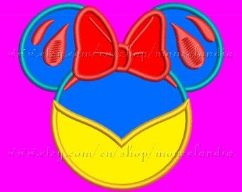 Cute snow white miss mouse  Applique Design   Instant Download 2sizes