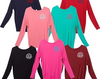 Monogrammed Dolman Top, Dolman Top with Monogram, Dolman, Long top with Monogram, Piko Top, Monogrammed Piko, Monogrammed Boxercraft