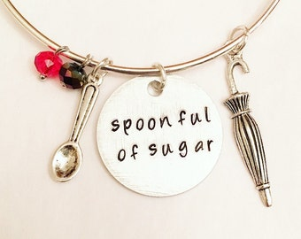 Spoonful of Sugar Mary Poppins Disney Inspired Stamped Adjustable Bangle Charm Bracelet