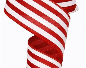 """2.5""""X10yd Vertical Stripe On Satin Wired Edge Ribbon ( red/white )"""