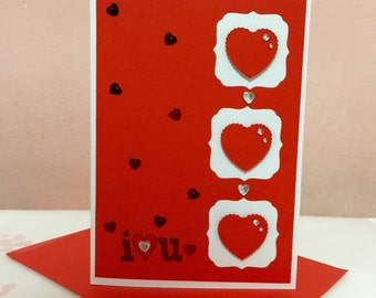 Happy Valentine's Day I LOVE U Hearts Handmade Card