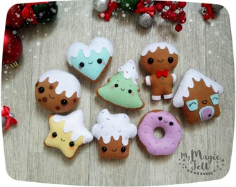 Christmas ornament felt Gingerbread ornaments Christmas tree decorations Cookie felt ornaments Christmas Party favors New year decor