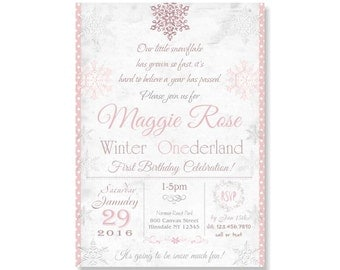 Winter Onederland Invitations, Snowflake Birthday, Sparkle Girl's First 1st Party Invite. DiY Printable or Printed with FREE SHIPPING 297