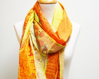 YELLOW/ORANGE Recycled Sari Silk Scarves