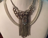 Statment Vintage-Handcrafted Crystal and Chain Stacked Necklace Wedding, Bride, Winter