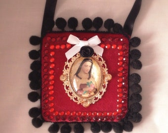 SALE CLEARANCE Art Our Lady Guadalupe Virgin Mary Mexican Religous Wall Mixed Media Original OOAK