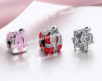NEW 925 Sterling Silver gift silver charm with Enamel and Clear CZ Charm Beads Jewelry Set with Charm Box Fit European Bracelet --Gift Set