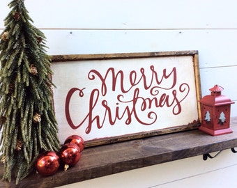 Merry Christmas Sign Rustic Christmas Sign Merry Christmas Wood Sign