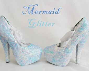 Mermaid Chunky Glitter Custom Personalized Womens Handmade Glitter Shoe High Heel Stiletto Thin Size 3 4 5 6 7 8 Platform Party Christmas UK