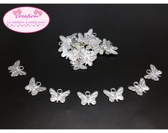 50 charms silver brilliant butterflies