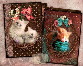 Digital Collage Sheet, CATS , KITTEN, cat images, instant download, Printable Cards, Scrapbook, Journaling, digital images, digital download