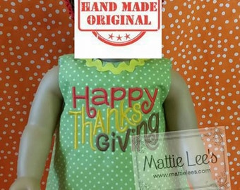 """18"""" Doll Dress with Happy Thanksgiving with Ric Rac"""