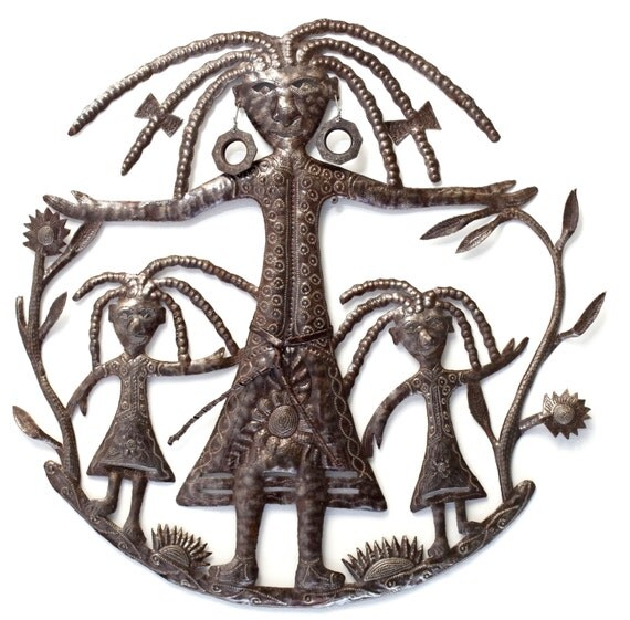 """Mother and Daughters Wall Sculpture,Mother's Day Handmade in Haiti, Recycled Metal 23"""" X 23"""""""