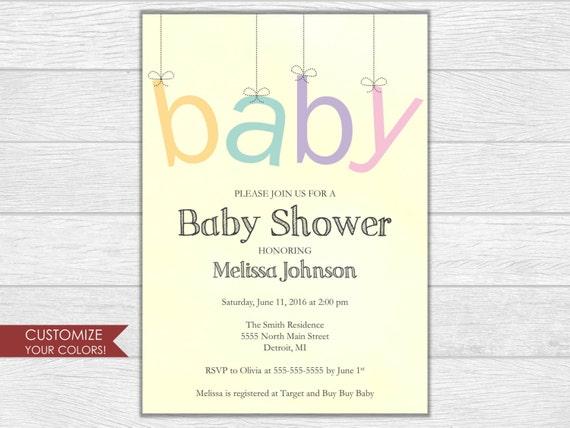 Baby shower invitation, baby shower invite, baby shower, floral baby shower, baby shower digital download, printable invite, shower invite