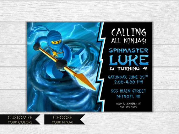 Ninjago invitation, ninjago birthday, ninjago invite, birthday invitation, birthday invite, printable invitation, jay ninjago, blue ninjago
