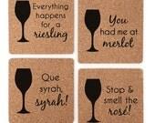 You Had Me At Merlot - Wine Lover Gift Coaster Set - Wine Varietal Puns - Merlot, Rose, Riesling, Syrah - Cork Coasters