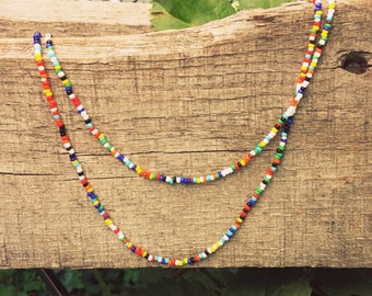 Seed Bead Necklace // Multi-Colored // Boho // Festival Wear // Single Strand // Several Lengths // Unisex // Barrel Clasp Closure