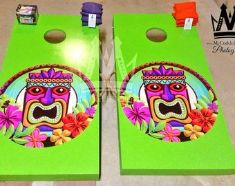 Tiki Man Island Cornhole boards with Cornholebags great for tailgating and Outdoor activities man caves !