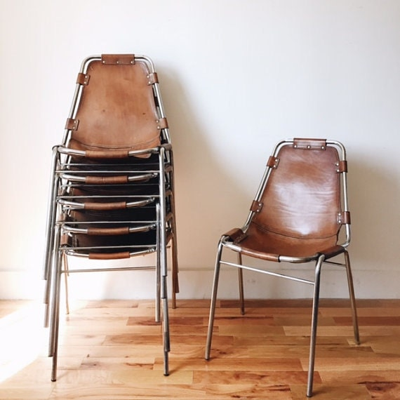 items similar to sold charlotte perriand les arcs leather chairs on etsy. Black Bedroom Furniture Sets. Home Design Ideas