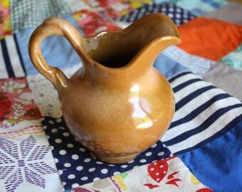 Frankoma small pitcher brown glaze