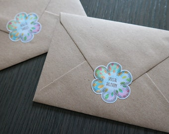 Flower stickers - 6 stickers - envelope seals