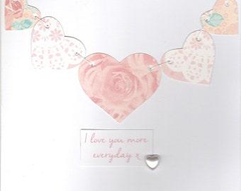 Handmade love heart card