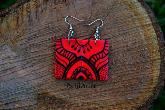 Red earrings Red dangle earrings Polymer clay earrings Hand painted earrings Polymer clay creations Dangle earrings Black and red earrings