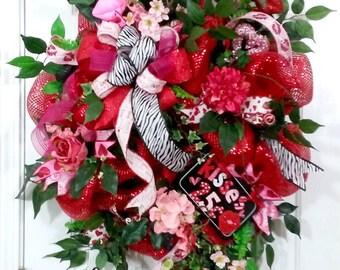 XL Valentine Deco Mesh Wreath,XL Valentine Wreath,Valentines Deco Mesh Wreath,Valentine Red Deco Mesh Wreath,Valentines Day Wreath