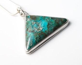 Chrysocolla Necklace - Chrysocolla in Quartz Pendant Necklace - 925 Sterling Silver - Chrysocolla Handmade Expressive Gemstone Jewelry