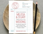 Printable Wedding Invitation PDF  Library Card Retro Wedding Invite  Red Grey Blue White  Digital File Only  Printing Also Available