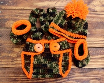 Crochet Camo and Orange Infant Boy Set - Hat, Diaper Cover and Booties - Size 0-3 months