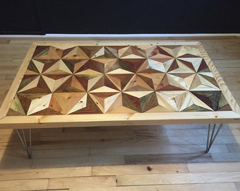 Geometric Coffee Table from recycled wood