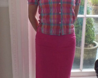 Bright Pink Pencil Skirt/1990s/Fully Lined/Summer Skirt/Back Zip/Linen Cotton Blend