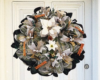 White poinsettia bells and cinammon Christmas  Door Wreath, front door wreath, Christmas Decorations, Christmas wreath, festive wreath