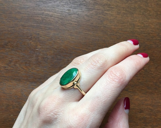 Emerald ring - emerald gold ring - gold emerald ring - green stone ring - natural stone ring - gift
