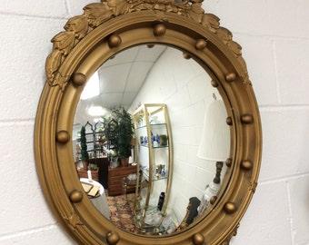 Wooden Convex Antique Eagle Mirror