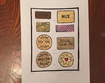 British Biscuits Original Linocut Print Hand Coloured with Watercolours