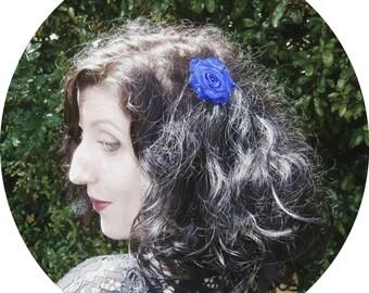 Twin Peaks Blue Rose hair clip