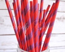 PURPLE RED STRIPE, 25 Paper Straws With Navy Purple Red Stripes, Wedding, Party, Birthday, Baby Shower Paper Straws
