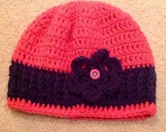 Winter hat and fingerless gloves  pink and navy hand crocheted tweens teens ladies