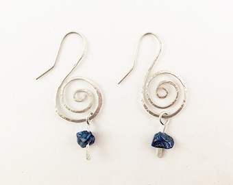 Silver Swirl Earrings with Lapis Lazuli Dangles