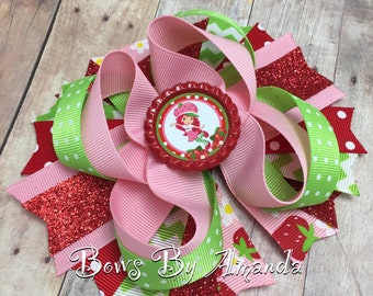 """Strawberry Shortcake Red, Pink and Green 5"""" Stacked Hair Bow"""