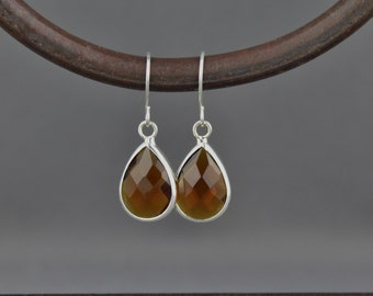 Brown Dark Amber glass earrings faceted teardrop pendant silver dangle lightweight small dainty wedding jewelry bridesmaid gift