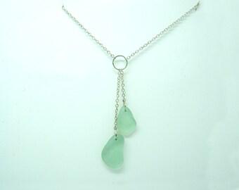 Mermaid's tears sterling silver necklace genuine sea glass