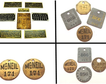 Old industrial metal brass tags - 18 Machine age emblems token name badges- Steampunk jewelry lot collection