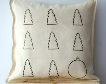 Christmas trees Pillow case, Scandinavian style pillow cover, Eco friendly throw pillows