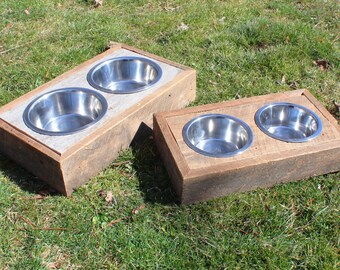 Barn Wood Dog Dishes