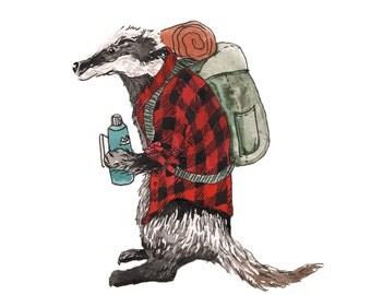 woodland nursery art, camping art, badger art, woodland animal art, animal art for a guy, hiking art